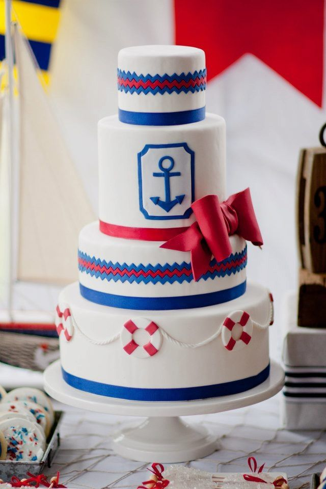 Nautical Wedding Cake - Nautical cake with red and blue chevron. Handcut anchor.