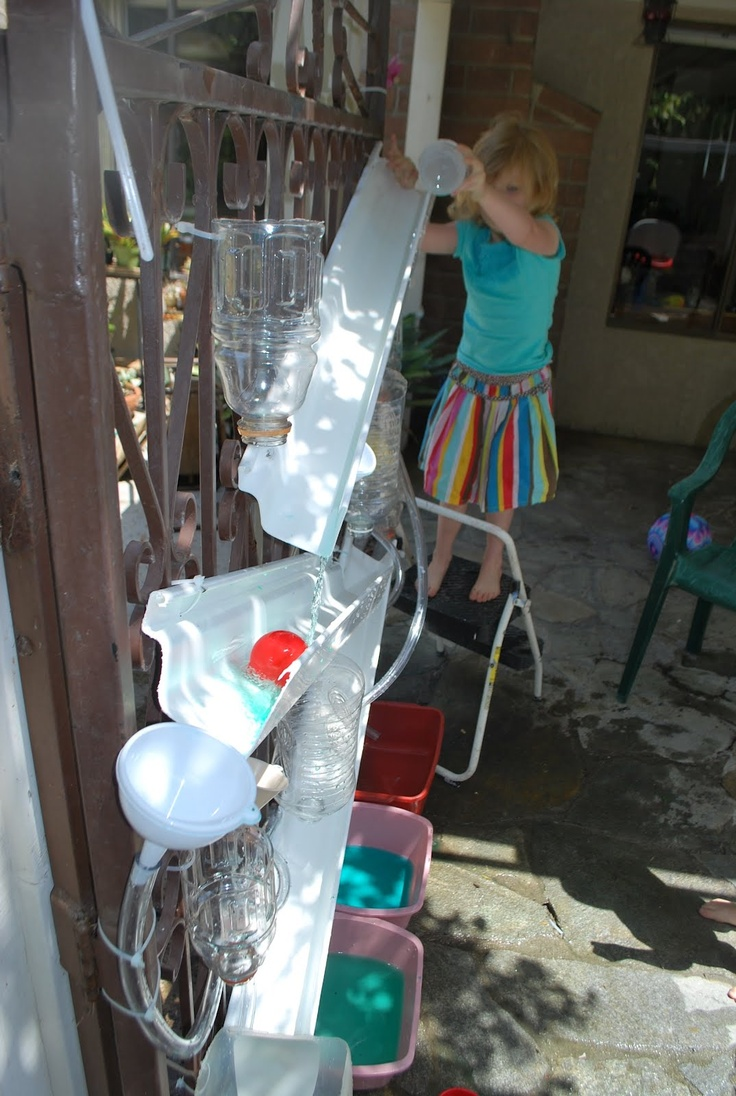 "Water wall fun - also like the use of small step ladders. Want some for school so that the children can use them ("",)"