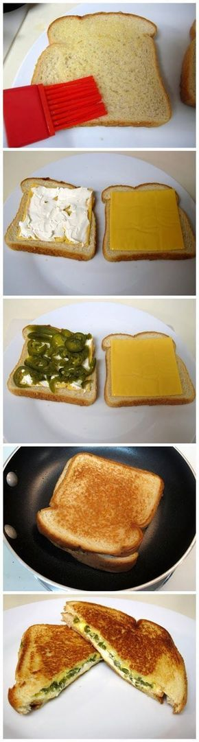 Jalapeno Popper Grilled Cheese Sandwich (so not healthy but looks sooo good)
