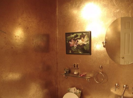 I like the idea of a gold painted wall. Makes the space feel more consecrated.
