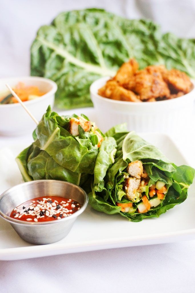 Our Peanut Chicken Lettuce Wrap uses swiss chard leaves to wrap peanut butter marinated chicken and pickled veggies into the perfect low carb lunch wrap!