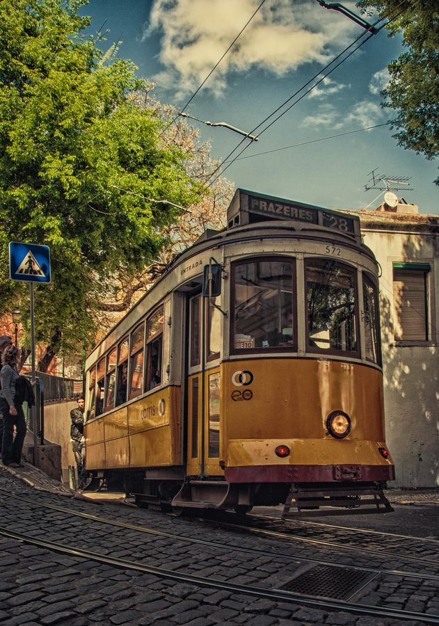 Tram 28 Lisbon, Portugal. 'You haven't been to Lisbon until you've scooted through the streets on this golden oldie'