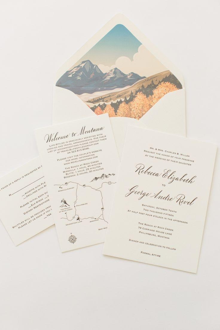 Yonder Design | Rock Creek, Montana Wedding, Mountain Wedding, Velvet Invitation, Custom Illustrations, Custom Event Design, Wedding Inspiration, Unique Invitations, Letterpress, Romantic Wedding, Rustic Wedding, Invitation Suite