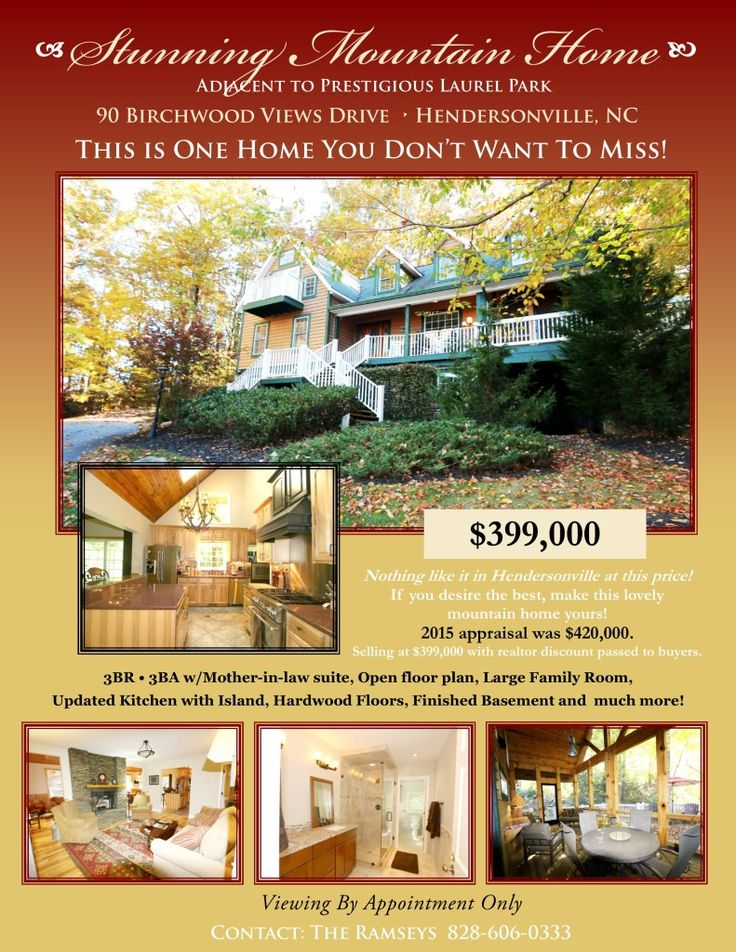 11 best Hendersonville, NC Homes for Sale images on Pinterest - house for sale flyer template