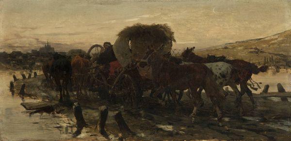 Żydzi prowadzący konie na targ - Józef Brandt