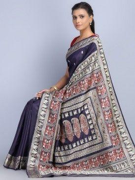 Navy Silk Threadwork Handwoven Baluchari Saree by Naipunya