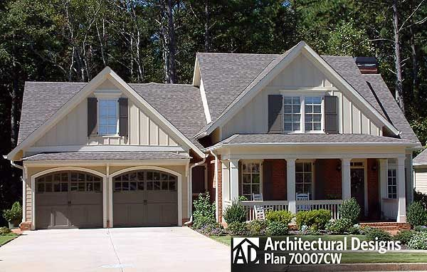 Architectural Designs 3 Bedroom Cottage House Plan 70007CW  Just under 2,500 sq. ft. Master Down + 2 up Bonus over garage Porch in back