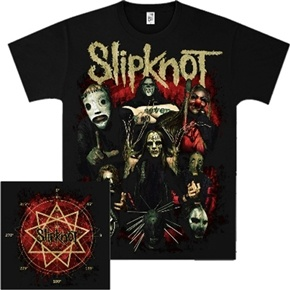 Official t-shirt from Slipknot featuring Come Play Dying design.