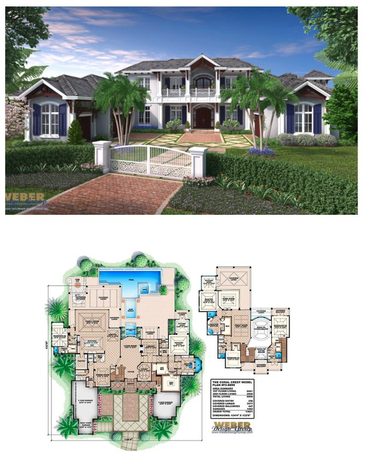 The Coral Crest House Plan is a magnificent estate home with a stately curb appeal. With 2 master suites, separate caretaker's quarters, 3 additional bedrooms and 5 full baths, it is clear this house plan was designed to not only take full advantage of view oriented lots with over 1,500 sq. ft. of outdoor living space but to functionally cater to exactly what modern families want in a luxury home.  More Beach House Plans:  https://www.weberdesigngroup.com/home-plans/style/beach-house-plans/
