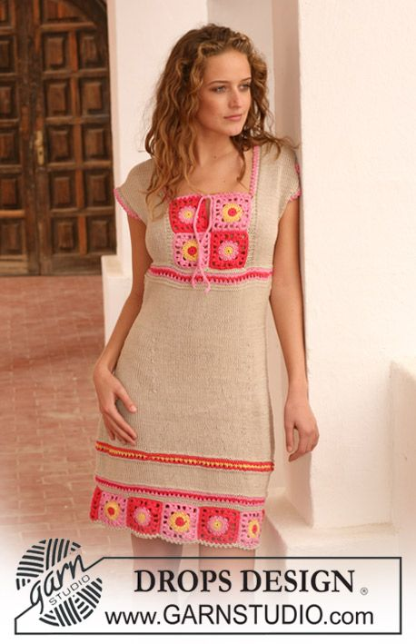 "DROPS dress in ""Muskat"" with crochet squares. Size S - XXXL. ~ DROPS Design"