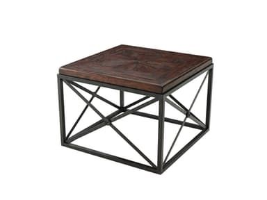An antiqued wood, brass and iron Campaign bunching cocktail table, the square stellar parquetry top on square verdigris legs joined by 'X' sides. 28.5x28.5x20.5 Stacy's Furniture