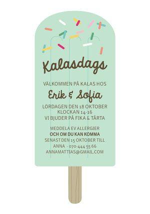 Inbjudningskort barnkalas Glasspinne. Du hittar det hos http://annagorandesign.shop.textalk.se