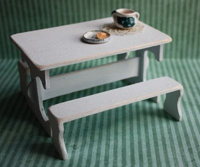 Lasituvan Miniatyyrit - Lasitupa Miniatures: DIY: Wooden table & benches Country Style - puinen...