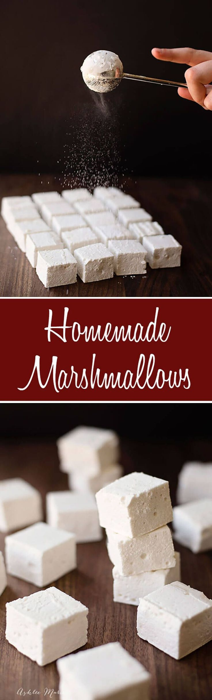 Homemade Marshmallows are easy to make and they taste amazing, plus a video kitchen tip on how to easily cut them into even squares. | Fall | Winter | Holiday | Marshmallows | Dessert | #holidaytreats #hotcocoa #hotchocolate #dessert #perfectmarshmallows #marshmallows