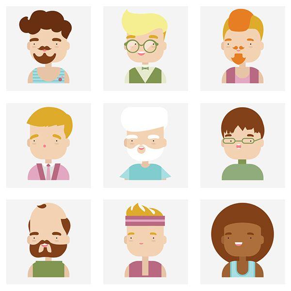 Flat Character Icons by Bloom UA, via Behance