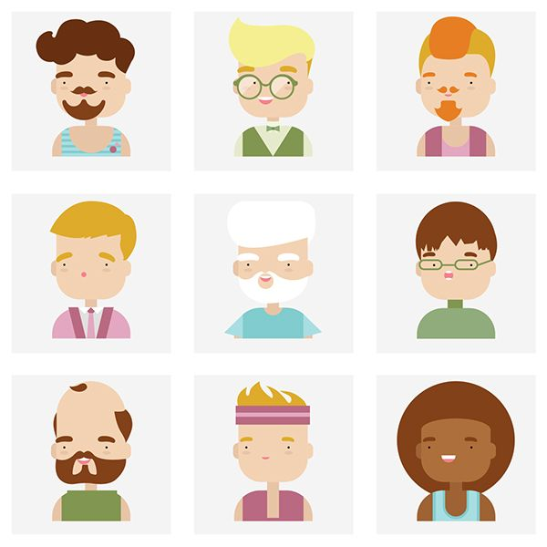 Flat Character Icons by Bloom UA, via Behance