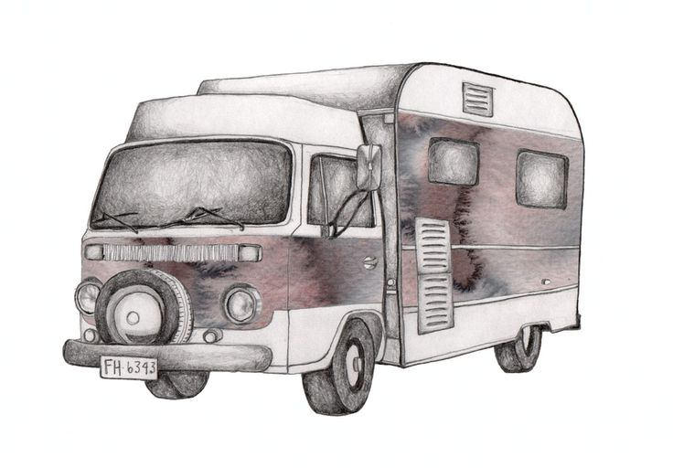 Image of 'Campervan' Watercolor Art Print 30 x 40 cm