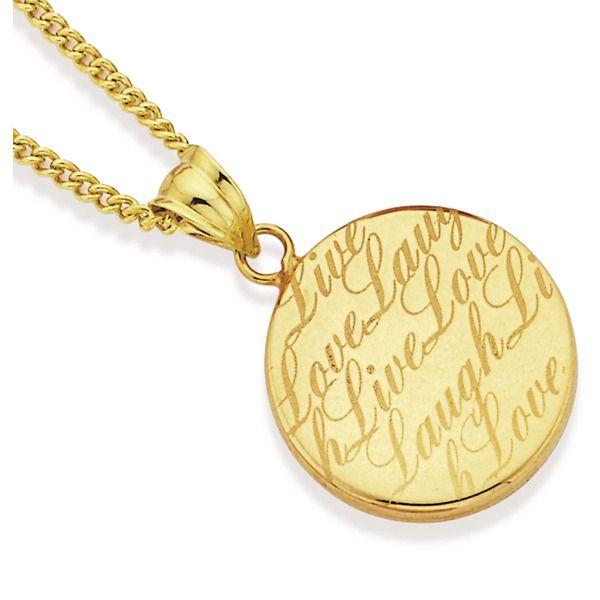 9ct Gold 'Live, Love, Laugh' Pendant