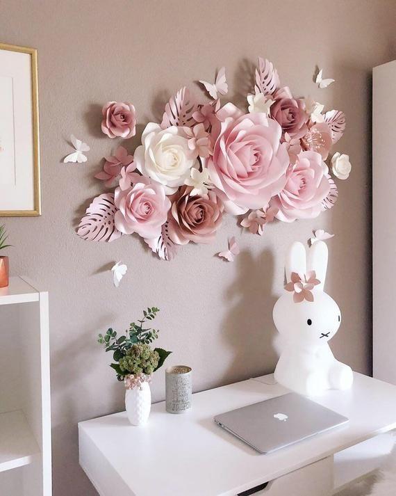 Paper Flowers Wall Decoration Nursery Wall Art Nursery Wall