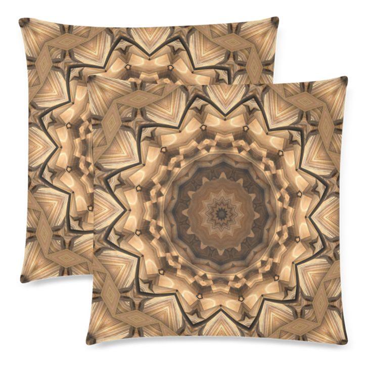 Wood Tone Mandala Custom Zippered Pillow Cases 18