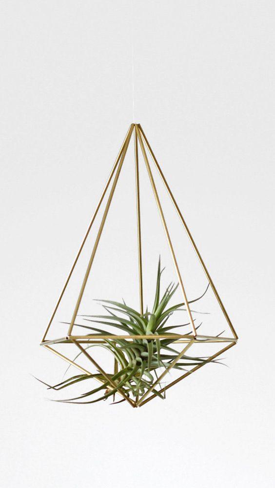 Brass Himmeli Hanging Planter / Hanging Mobile Prism no. 2 / Geometric Ornament / Air Plant Hanger