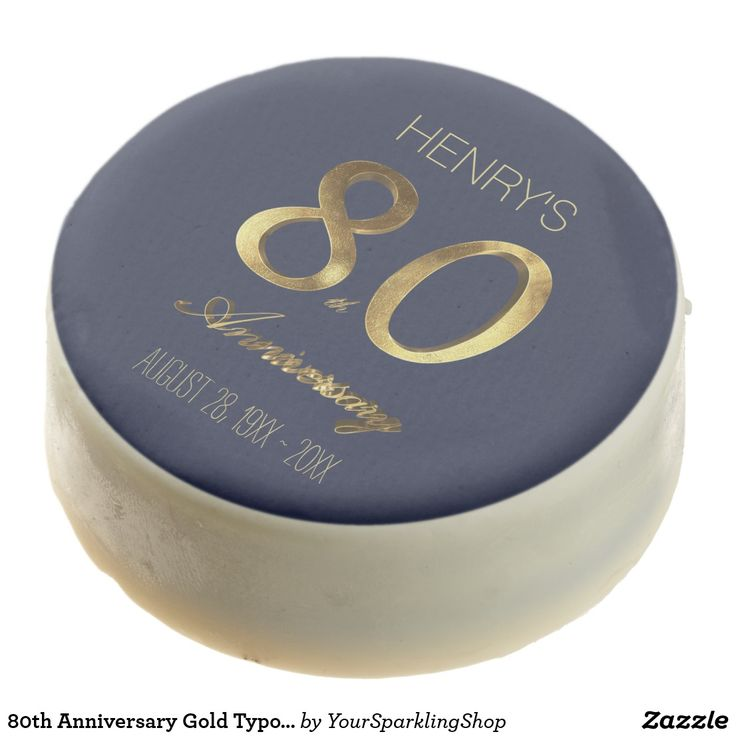 80th Anniversary Gold Typography Elegant Chocolate Covered Oreo #personalized