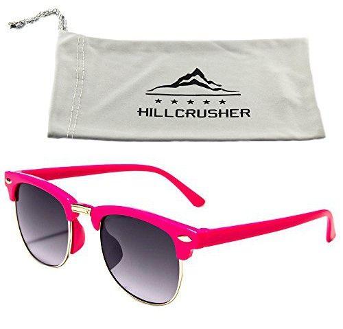 Hillcrusher Girls AGES 3 -9 Gafas De Sol Wayfarers Kids Sunglasses (Pink, Gray)