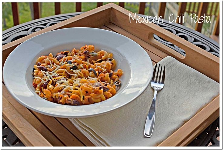 Mexican Chili Pasta recipe. A great mix of Italian and Mexican/chili-ish that is highly customizable and family friendly.