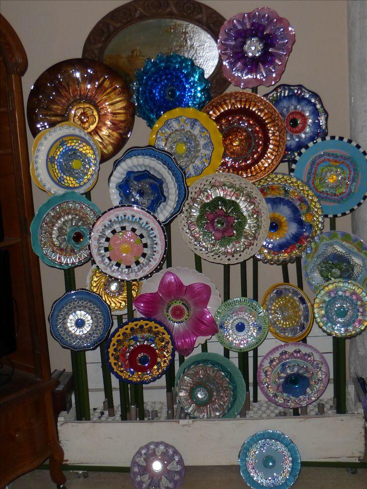 Glass Plate Flower, garden art, ceramic plate flowers                                                                                                                                                                                 More