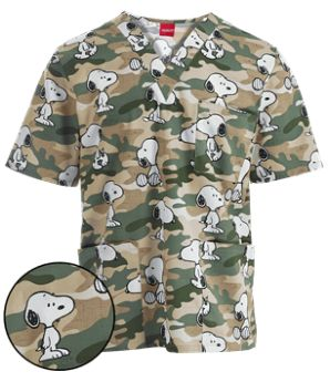 spacer  spacer   Coordinates with Cherokee: Black, Olive, White, and Khaki.  spacer               Cherokee Tooniforms Scrubs Camo Hound Unisex Print Top    The Cherokee Tooniforms 6876C PNOH unisex scrub top features a v-neckline and a print of the beloved Peanuts character, Snoopy. Style # CK6876CH #uniformadvantage #adayinscrubs #camoscrubs #tooniforms #Cherokee #funscrubs