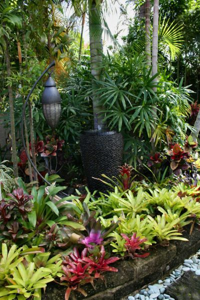 "Use Bromeliads of different colors and heights and ""layer"" them as shown here. Bromeliads do well in full sun on the  cooler windward side of the Hawaiian Islands........on the dry Lee side, they need to be in part shade."