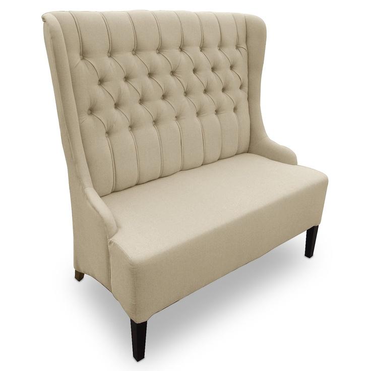 Beige Linen High Back Loveseat Furniture I