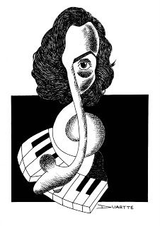 DUARTTE: Frédéric François Chopin -  Materiais: Papel canson A4 e nanquim.