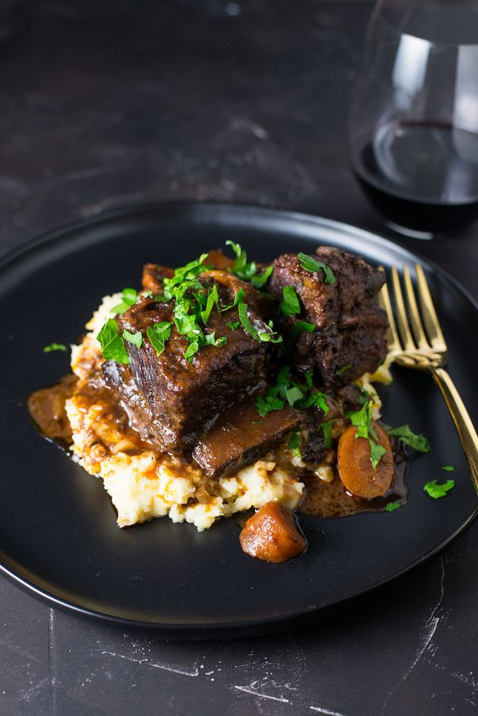 Classic Wine Braised Beef Short Ribs Become Incredible Tender And Full Of Flavors From Red Wine Beef Browht And F Braised Beef Fine Dining Recipes Rib Recipes