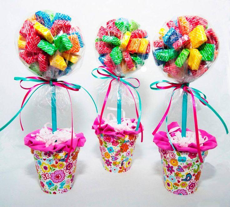 arbolitos topiarios con golosinas para souvenirs pack u en