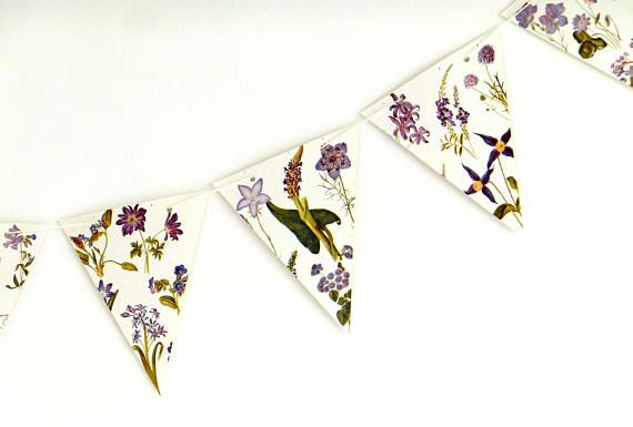 Lilac Botanical Bunting recycled flower garland floral