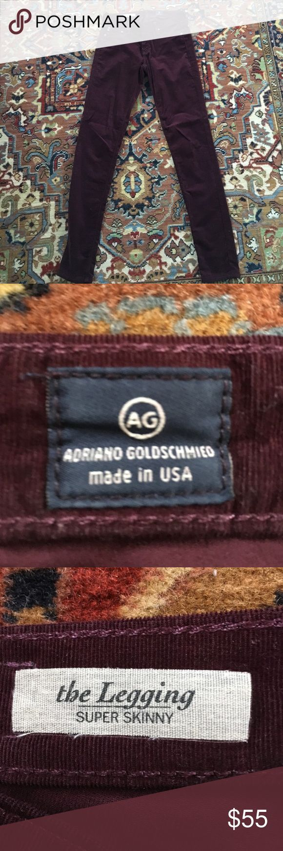 AG Deep Burgundy / Fuscia Skinny Corduroys SUPER SOFT, gorgeous and now too big for me! Only worn once! AG Adriano Goldschmied Pants Skinny