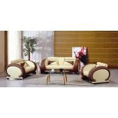 7391  Beige and Dark Brown Leather Sofa Set