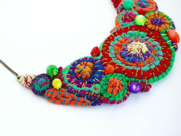 Collana riciclo multicolore boho gypsy hippy