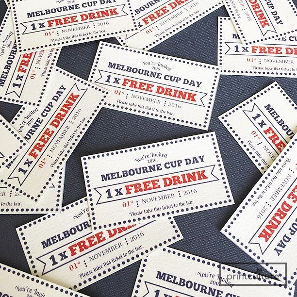 Happy Melbourne Cup! Free Drink Tickets, Designed & Printed by PrintCulture www.printculture.com.au