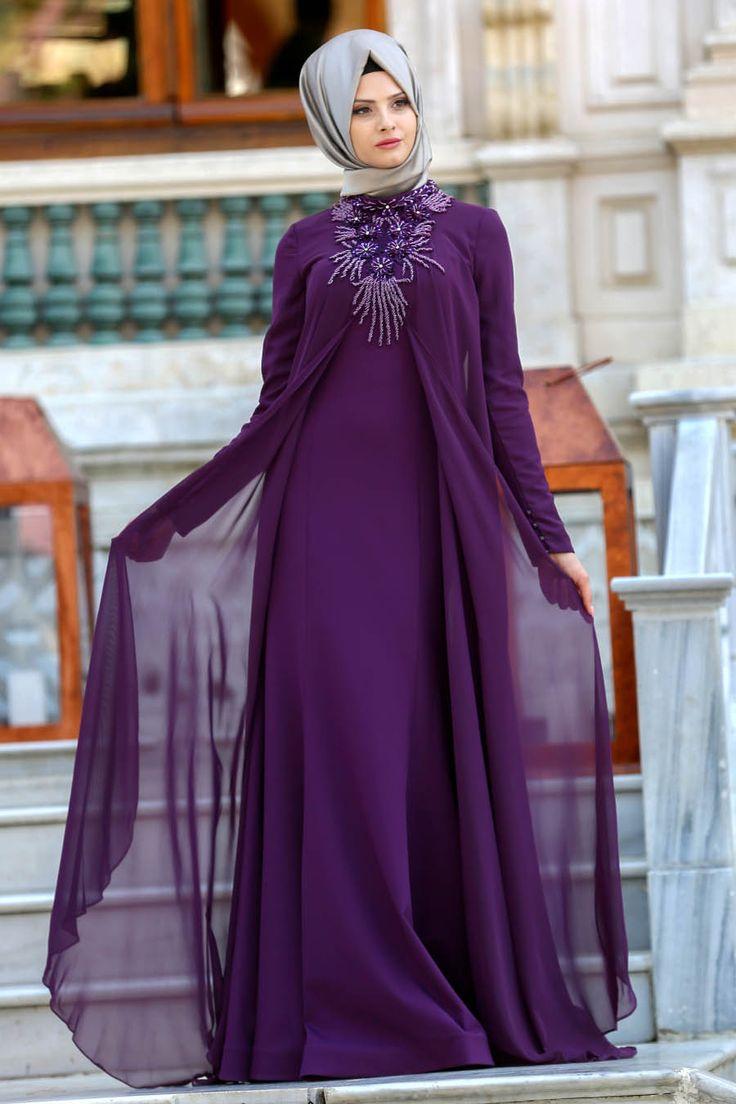 2018 Yeni Sezon Özel Tasarım Abiye- Tesettürlü Abiye Elbise - Yakası Detaylı Mürdüm Tesettür Abiye Elbise 104MU