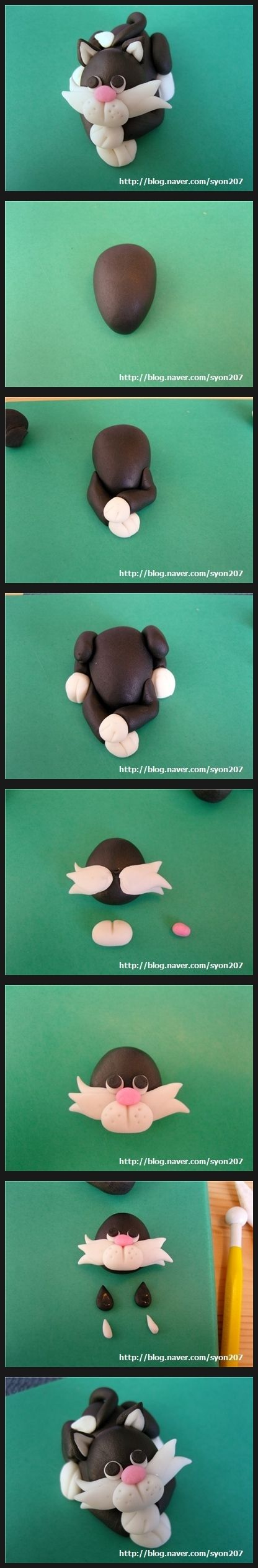 Sugar Craft - Cat ( can be made with polymerclay . Scroll down )