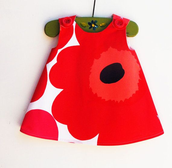 Marimekko Dress - Red - Infant Dress - Baby Shower - Speical Occasions - Princess Dress - Handmade Childrens Fashion - 12-18M only