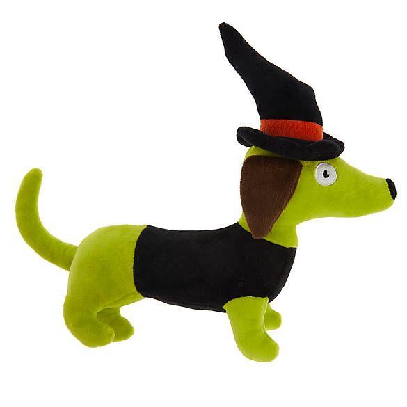 Thrills Chills Halloween Witch Wiener Dog Toy Plush Squeaker
