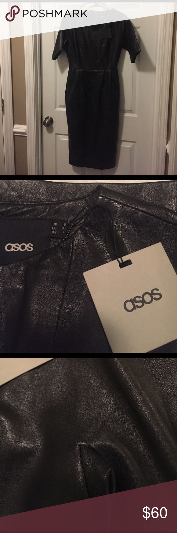 ASOS Leather Wiggle Dress Chic ASOS Leather Wiggle Dress! Has A Small Snag On The Left Arm Pit Area (Please See The Pic). Seller Does Not Accept Returns ASOS Dresses Midi