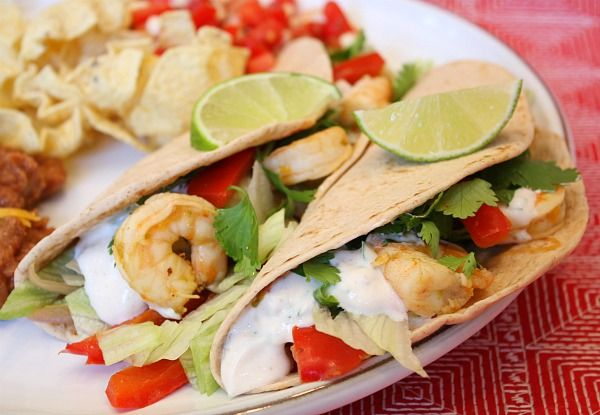 Tequila-Lime Shrimp Tacos with Chipotle Cream ..MmMmM!! I want shrimp. now