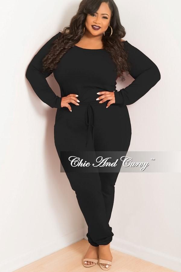 e16c3866702894 Plus Size Off the Shoulder Jumpsuit with Tie in Black – Chic And Curvy