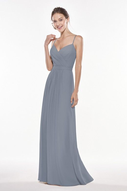 7c5165a555 P196006 Long V-neck Georgette Bridesmaid Dress with Spaghetti Straps ...