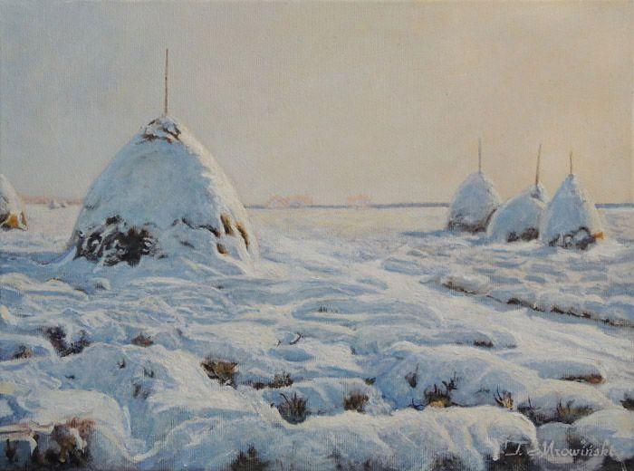 obraz zimowe stogi siana