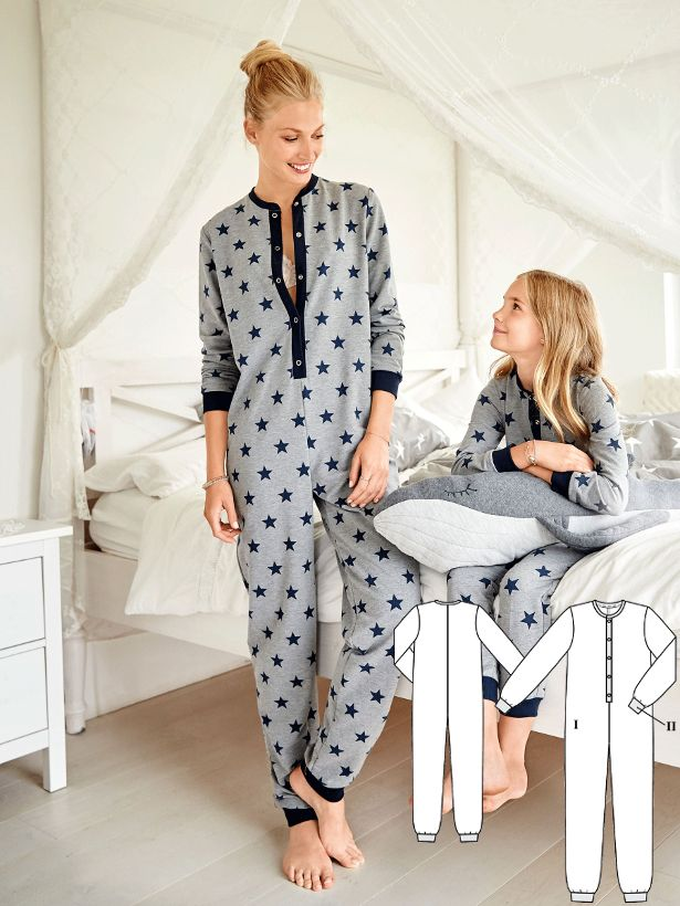 Looks great, doesn't feel tight and is comfortably warm…the onesie pajamas with the polo placket and ribbed cuffs is the perfect night – and loungewear for both young and tall fashionistas. #burdastyle #onesie #sewing #pajama #diy